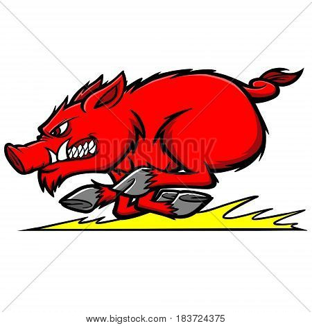 A vector illustration of a raging razorback hog.