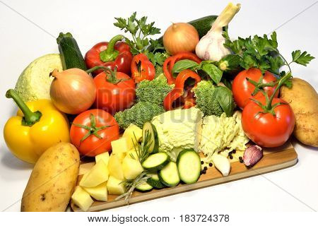 Raw organic vegetables, healthy vegan soup ingredients