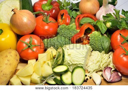 Raw organic vegetables healthy diet food soup ingredients