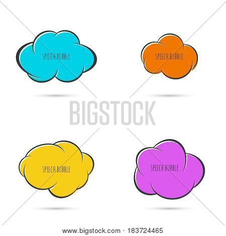 Set Speech bubble icon. Vector frame. Comic text box with stars. Collection Blue yellow, orange, purple color.