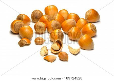 Hazelnuts healthy snack isolated on white background organic food