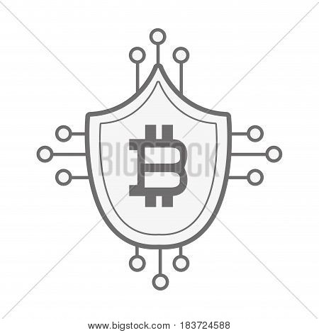 security shield protection with bitcoin currency symbol, vector illustration