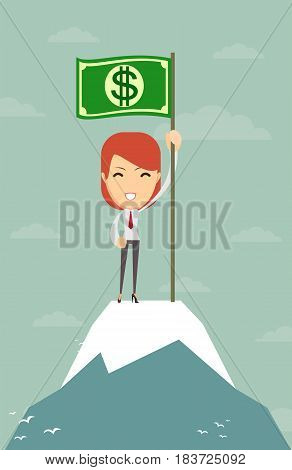 Businesswoman holding in hand flag with a banknote. Woman on top. Vector, illustration, flat