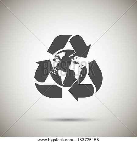 Arrow around the globe isolated on background. Vector illustration. Eps 10.
