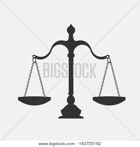 scales of justice isolated on white background. Vector illustration. Eps 10