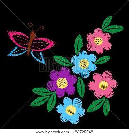 Colorful flower with leaf and butterfly embroidery stitches imitation. Floral pattern on black background. Embroidery vector.