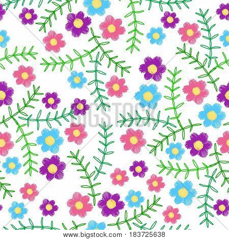 Seamless pattern with colorful flower and green leaf embroidery stitches imitation. Vector embroidery background for printing on fabric paper for scrapbook gift wrap.