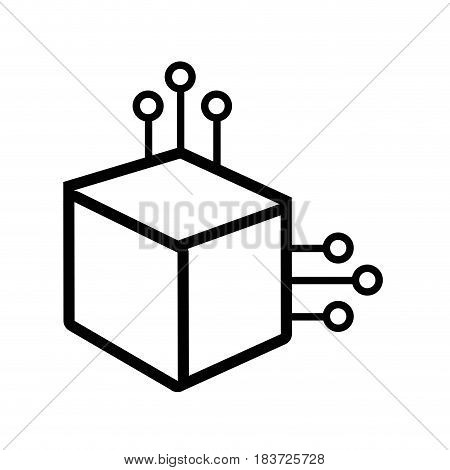 line cube with circuits network of communicatig bitcoin transactions, vector illustration
