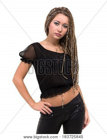 Portrait of young smiling woman with dreadlocks, isolated on white background