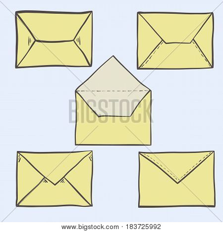 Set of cute hand drawn envelopes, postal and mailing icons