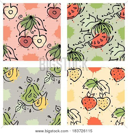 Vector Fruits Seamless Pattern Watermelon, Cherry, Strawberry, Berry, Pear With Leaves, Blots, Drops