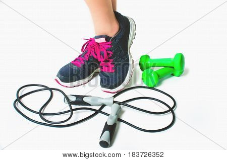fitness concept with Exercise Equipment isolated on white background.