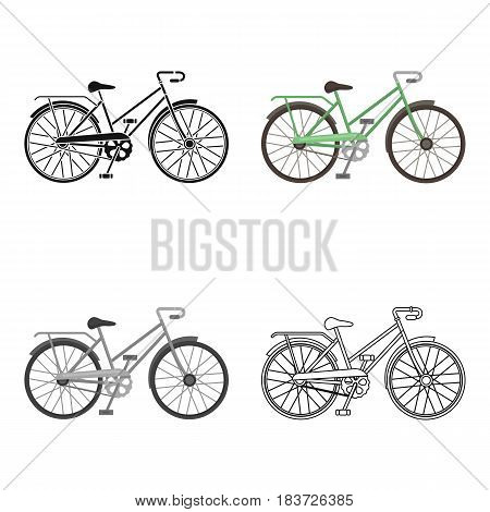 Green female bicycle frame with a scythe.Different Bicycle single icon in cartoon style vector symbol stock web illustration.
