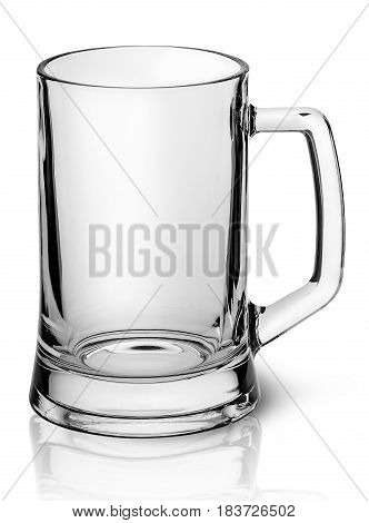 Empty beer mug top view isolated on white background