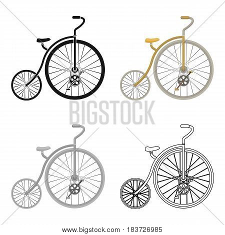 Vintage bicycle. The first bicycle. Huge and small wheel.Different Bicycle single icon in cartoon style vector symbol stock web illustration.