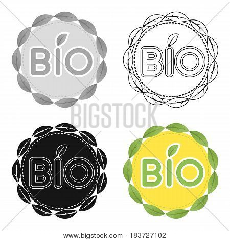 Bio label icon in outline design isolated on white background. Bio and ecology symbol stock vector illustration.