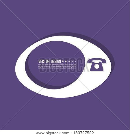 Cellphone  banner blank template.  Phone sign icon. Empty vector form. information, text box, textbox on purple background. Speech Bubbles.