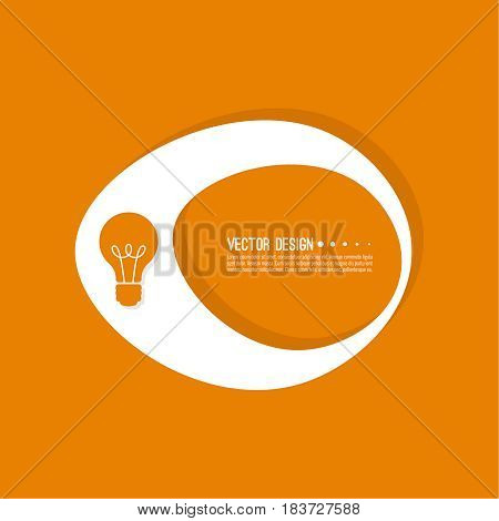 Abstract geometric shape banner with icon light bulb. Vector frame speech bubble. Air text box.  Electric light textbox. Orange.