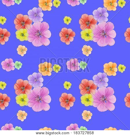 Geranium. Texture of flowers. Seamless pattern for continuous replicate. Floral background photo collage for production of textile cotton fabric. For use in wallpaper covers.