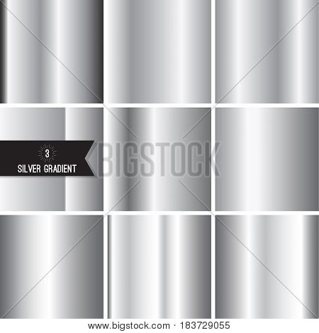 Set of silver foil texture background. Collection grey, chrome  vector elegant gradient. Aluminum industrial pattern design.