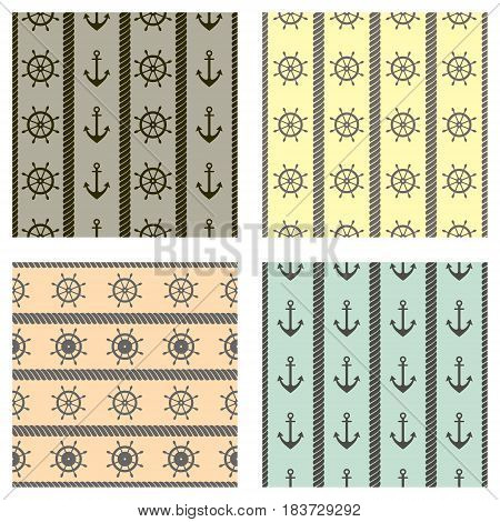 Set Of Vector Seamless Patterns With Anchor, Steering Wheel And Rope. Creative Geometric Symmetrical