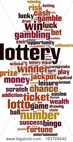 Lottery word cloud concept. Vector illustration on white