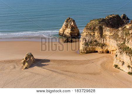 Natural rocks at Praia da Rocha, in the Algarve, Portugal