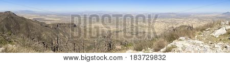 An Aerial Panorama of the San Pedro Valley Area Arizona from Miller Peak Huachuca Mountains