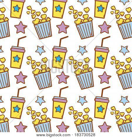 popcorn and soda beverage to cinema eat, vector illustration
