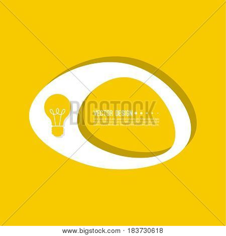 Abstract geometric shape banner with icon light bulb. Vector frame speech bubble. Air text box.  Electric light textbox. Yellow.