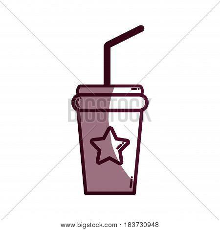 silhouette soda beverage in the cinema movie scene, vector illustration