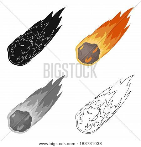 Flame meteorite icon in cartoon design isolated on white background. Dinosaurs and prehistoric symbol stock vector illustration.