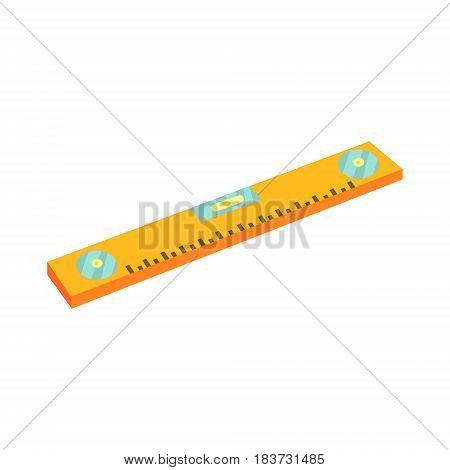 Yellow bubble level, device for checking the vertical and horizontal levels. Colorful cartoon vector Illustration isolated on a white background