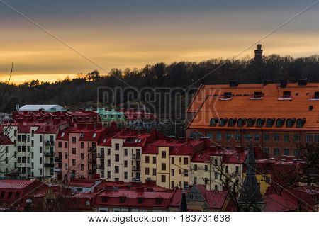 Sunset scene above the roof tops of Gothenburg Sweden