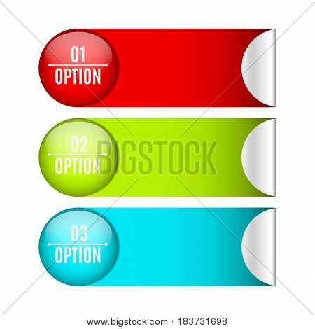 Infographics. Labels and stickers for your projects. Web design. Realistic vector illustration. Business style. Three options for selection. Modern marketing. EPS 10