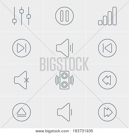 Vector Illustration Of 12 Melody Icons. Editable Pack Of Preceding, Audio, Stabilizer And Other Elements.