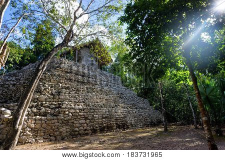 Temple of the Paintings as seen in the ancient Mayan city in Coba Mexico