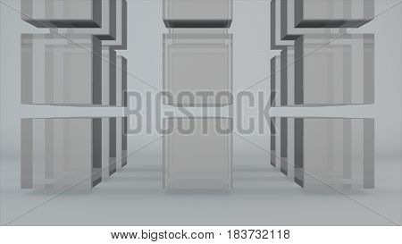 Abstract Background With Grid Glass Cubes