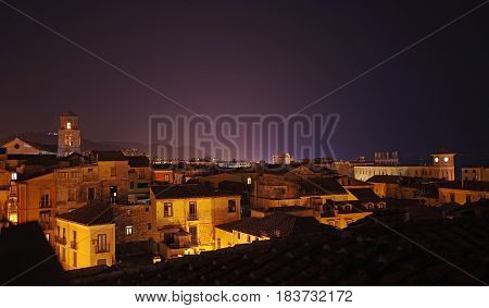 old town overview at night Salerno Italy