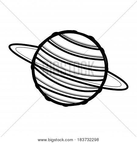 line exploration uranus planet in the galaxy space, vector illustration