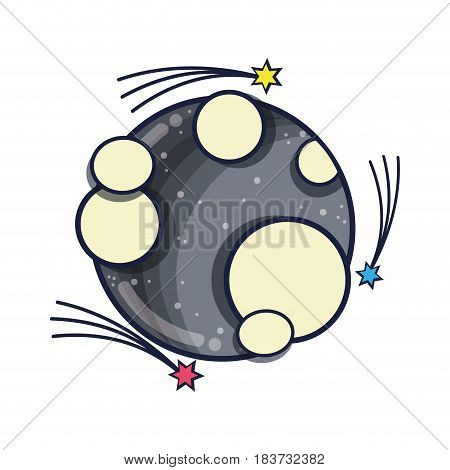moon in the nebulae space with astral stars, vector illustration