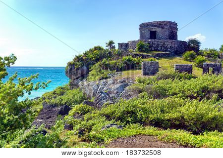 Temple overlooking the Caribbean Sea in Tulum Mexico