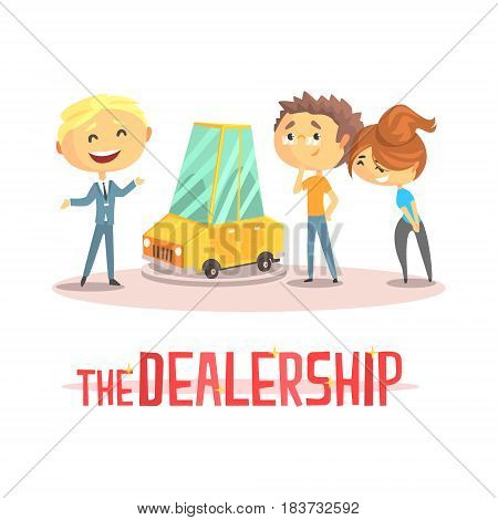 Happy couple with car dealer in auto show or salon. Auto business, car sale, dealership. Colorful character vector Illustration isolated on a white background
