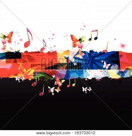 Music notes background. Colorful G-clef and music notes vector illustration