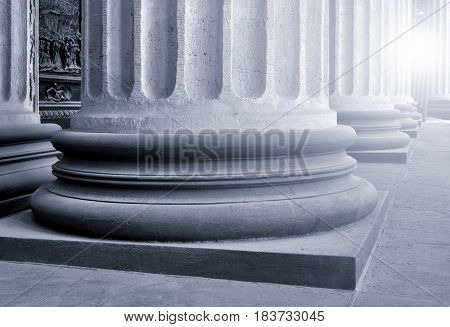 Architecture view - colonnade of the Kazan Cathedral in St Petersburg Russia. Architecture closeup. Architecture background. Architecture of St Petersburg Russia. Black and white processing
