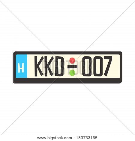 Car registration number plate. Colorful cartoon vector Illustration isolated on a white background