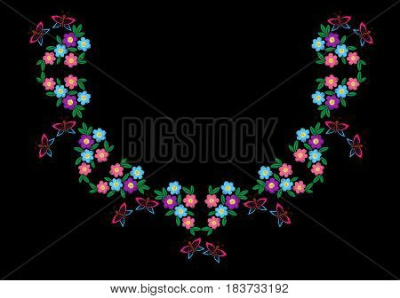 Colorful butterfly with flower and leaf frame embroidery stitches imitation. Floral wreath for neck line on black background. Embroidery vector.