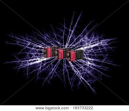 Explosion Li-ion batteries on a black background.