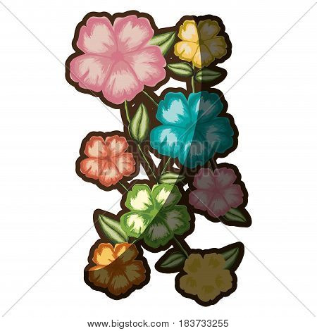 watercolor silhouette of malva flower with stem and leaves vector illustration
