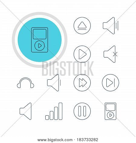 Vector Illustration Of 12 Melody Icons. Editable Pack Of Mp3, Decrease Sound, Rewind And Other Elements.